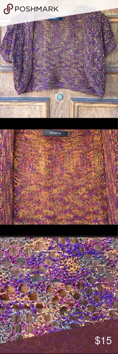 ARDEN B Rayon Open Knit Shrug - XS Cute and flawless shrug I've worn a few times when I had things that matched but just don't anymore. Vibrant colors, open Knit design. Pics show both indoor and outdoor lighting Arden B Sweaters Shrugs & Ponchos