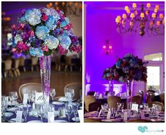 purple, pink and blue wedding center pieces, photos by Kevin Ferguson- Crystal Springs Resort
