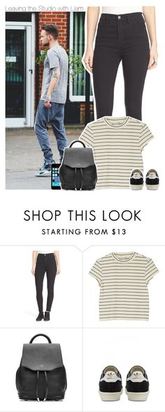 """""""Leaving the Studio with Liam"""" by perfectharry ❤ liked on Polyvore featuring Free People, Monki, FingerPrint Jewellry, rag & bone and adidas"""