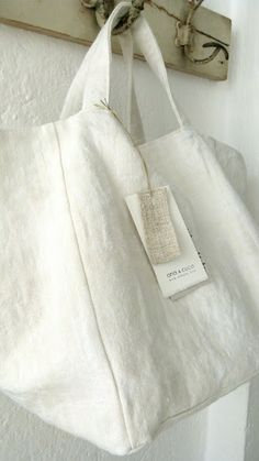 Ana & Cuca White Linen Tote | White Nest Market