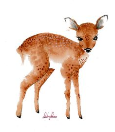 I tried to go back and tag the artist but I can't find the original site! What a cute little fawn! @Jennifer Milsaps L Vatt, this reminds me of Audrey and Eliaura at the same time!
