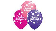 Pöttyös boldog szülinapot lufi lányos színekben 3 db, Nicol Party Kellék Bolt