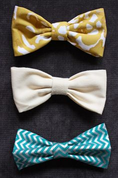 Easiest bow tie tutorial ever! Sewing For Kids, Baby Sewing, Free Sewing, Diy For Kids, Make A Bow Tie, Diy Bow, Fabric Crafts, Sewing Crafts, Sewing Projects