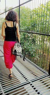 The Aztec bucket bag Trendy, tasseled and boho Available @Krisnaa by Sharmila Ahuja Red lungi pants@ PUNK #Boho #delhiblogger #fashionblogger #bohobags #bohostyle Shoot by Tamanna Gera