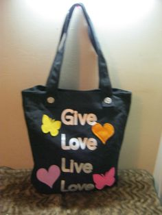new black give love live love  tote bag butterflies coolstuff2cheap