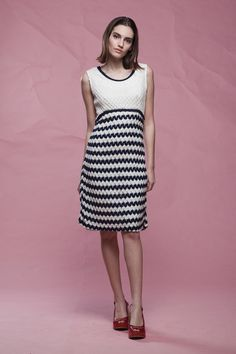 228e71a796e7 crochet eyelet dress sleeveless white navy blue a-line vintage 60s MEDIUM M  Vintage Clothing