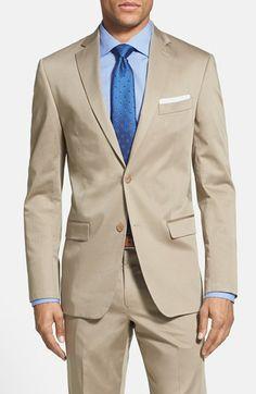 Michael Kors Trim Fit Stretch Cotton Suit   Nordstrom Khaki Suits, Beige Suits, Prom Suits For Men, Mens Suits, Modern Suits, Cotton Suit, Fitted Suit, Blazers For Men, Well Dressed Men