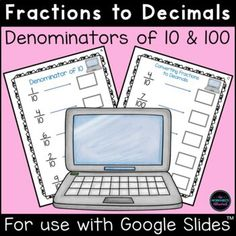 Teach your students to convert fractions to decimals with this engaging math activity! Children should look at the fraction, convert it to a decimal and type the decimal in the box. FUN hands-on learning for your math centers or distance learning! #fractions #math