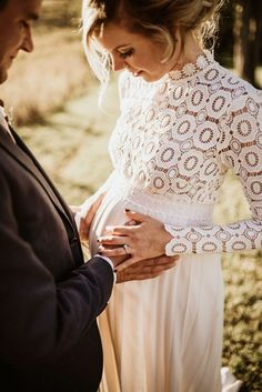 Modern Farmhouse Backyard Wedding - Outdoor wedding inspiration - St. Louis Wedding Photography - The Rowlands Photography and Filmmaking - Morton's Grove - Self Portrait Wedding Dress - pregnant bride - bride and groom - maternity