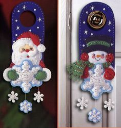 Adorable Santa and Snowman doorknob hangers in felt w/patterns, NOT in English...could make them into other things than doorhangers, tho'...my brain is whirling with ideas