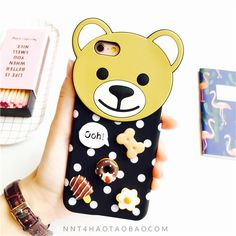 Trend cartoon cute Teddy Bear Snacks matte back Case Cover for iPhone 6 6S Plus…