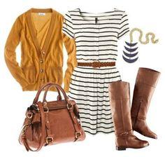 Striped dress, mustard sweater