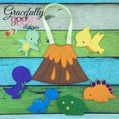 Dino Set Busy Bag and Finger Puppets Embroidery Design - 5x7 Hoop or Larger Gracefully Geeky