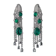 High Jewelry earrings Earrings - white gold, six oval-shaped emeralds from totaling 12.80 carats, pear-shaped rose-cut diamonds, brilliant-cut diamonds.
