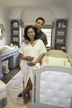 Stephen and Ayesha Curry in Baby Girl's Nursery - so chic!
