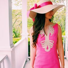 Love this pretty in pink dress with hat. From this site- All Things Preppy