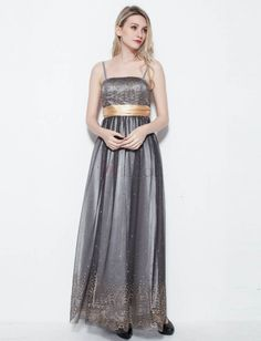 ❀ Tank A-Line Evening Dress With Gold Bow | Riccol ❤