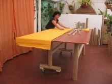 mobiliario abatible con tubo de cartón