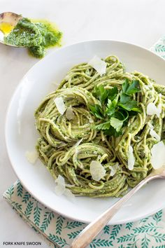 Soba Noodles with Lemony Kale Pesto - Time to start pinning healthy ideas again!  No more dessert for dinner!