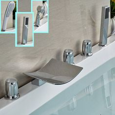76.50$  Buy now - http://ali0gm.worldwells.pw/go.php?t=32633302794 - Luxury Bathroom WC Waterfall Tub Sink Mixer Faucet + Handshower Deck Mount Bath Shower Faucet Chrome Finish