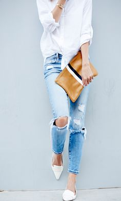 distressed jeans, button down, pointy flats and Clare V. clutch.