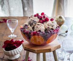 Christmas Pudding Ice Cream (in a cool Christmas ice bowl) By Nadia Lim