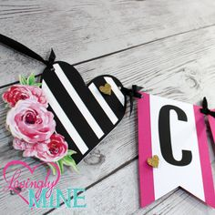 Items similar to Banners in Hot Pink, Black & White Stripes and Glitter Gold - Additional Banner Options Avail - Bridal Shower, Birthday, Baby Shower on Etsy Bridal Shower Banner Diy, Bridal Shower Menu, Gold Bridal Showers, Shower Banners, Kate Spade Party, Kate Spade Bridal, Black And White Baby, Pink And Gold, Pink Black
