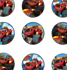 Free Blaze and the Monster Machines Birthday Party Cupcake Toppers Printable Files