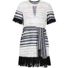 Derek Lam 10 Crosby fringed woven dress ($855) ❤ liked on Polyvore featuring dresses, grey, grey dress, 10 crosby derek lam, braid dress, key hole dress and horizontal striped dress