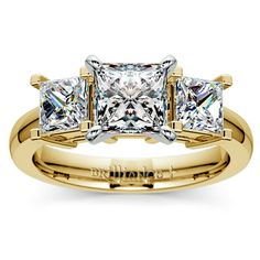 Princess Diamond Engagement Ring in Yellow Gold http://www.brilliance.com/engagement-rings/princess-diamond-ring-yellow-gold-1-ctw