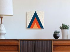 Large Triangle canvas wall art /// mid century modern decor/ geometric art/ teepee art/ mountain art/ tribal /boho