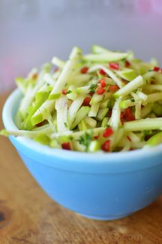 Crisp Cucumber and Apple Salad Recipe -- perfect chilled salad for summer events! If you want your kids to start loving salads than this is the perfect recipe. Kids love this salad because of the apples!