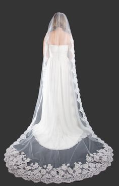 NEW  Wedding Veil  French Alencon Cathedral Veil by AlisaBrides, $350.00