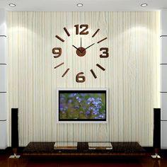 New Arrival 10EW101 Fashion sticker EVA kitchen wall clock Wood colour large decorative 3d diy wall clock big