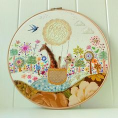 New Day Embroidery Hoop Art Whimsical Embroidery of Etsy Embroidery, Embroidery Hoop Art, Cross Stitch Fabric, Wooden Hoop, Hand Applique, Linen Bag, The Balloon, Metallic Thread, New Day