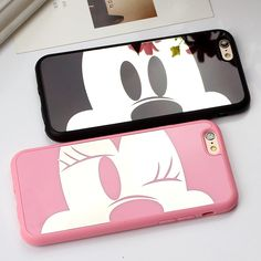Luxury Pink Mickey Minnie Soft TPU Mirror Phone Cases For iPhone 7 7Plus 6 6s Plus 5 5s SE Case Cute Case Cover For iPhone 7 Bag