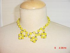 Vintage Yellow Flower Bead Necklace & Clip On Dangle Earring