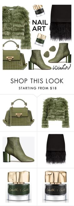 """Green With Envy: Wintery Nail Polish"" by rasa-j ❤ liked on Polyvore featuring beauty, Salvatore Ferragamo, Alice + Olivia, Maison Margiela, Polo Ralph Lauren, Smith & Cult, Linda Farrow and nailedit"