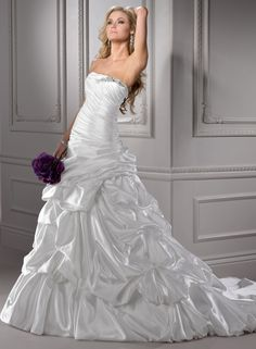 Elegant Princess Strapless Court Train Satin Wedding Dress with Beaded Appliques
