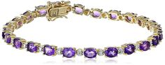 18k Yellow Gold-Plated Sterling Silver Diamond Accent Two-Tone Gemstone and Tennis Bracelet, 7.25' >>> Read more reviews of the product by visiting the link on the image. (This is an affiliate link and I receive a commission for the sales)