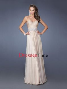 A-line Sweetheart Beadings Pleatings Chiffon Prom Dress PD2670