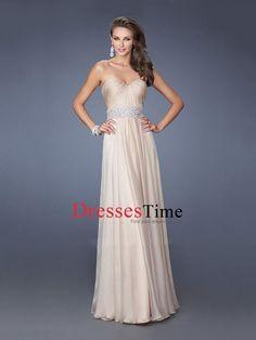 A-line Sweetheart Beadings Pleatings Chiffon Prom Dress PD2670