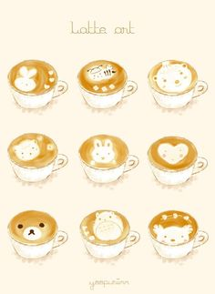 cappuccino with a touch of kawaii // latte art Art Kawaii, Kawaii Shop, Kawaii Cute, Kawaii Stuff, Coffee Latte Art, Coffee Love, Coffee Shop, Chibi Food, Kawaii Illustration