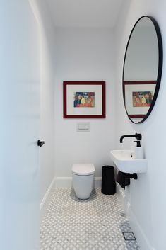 Loving the Powder Room in our Northbridge Project. Sleek lines of white teamed with black accents and anchored by the grey floor tiles. Everything working together to create a spacious airy feel. Timber Flooring, Grey Flooring, Grey Floor Tiles, Living Spaces, Living Area, Joinery, Home Renovation, Cottage Style, Powder Room
