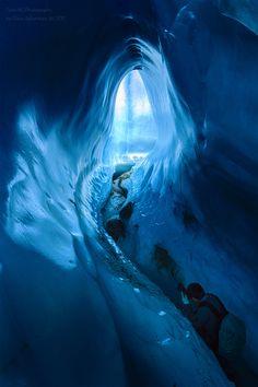 Ice cave exploration in Root Glacier, Wrangell-St.Elias National Park, Alaska, USA