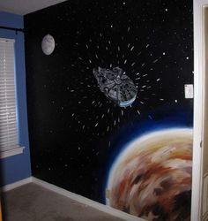 Outer space themed bedroom decorating ideas kids bedrooms for Decoracion de cuarto star wars