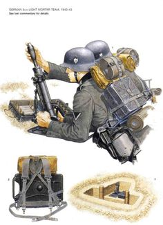 tyske soldater med 50mm morter i starten af krigen