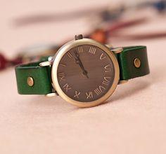 Stan vintage watches — Wrist Watch Handmade Vintage Womens Mens Leather Bangle Studded Bracelet Quartz (WAT0120)