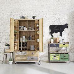 Table console en métal et bois vert L 85 cm Farmers | Maisons du Monde