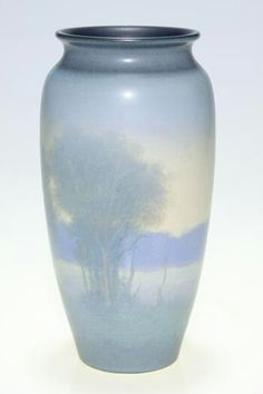 ~Rookwood~Artist: E. T. Hurley~Landscape Of A River Flowing Between Wooden Banks-Scenic Vellum Vase~